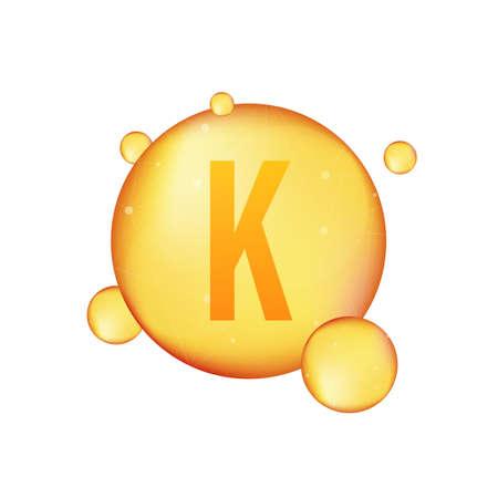 Vitamin k gold shining icon. Ascorbic acid. Vector illustration. Ilustrace
