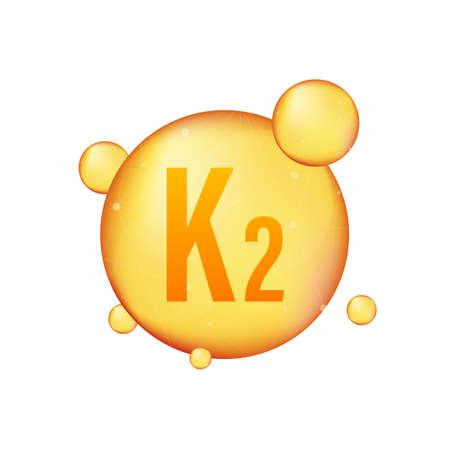 Vitamin K2 gold shining icon. Ascorbic acid. Vector illustration.