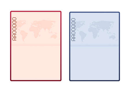 Blank open passport template. International passport with sample personal data page. Vector stock illustration. Ilustrace