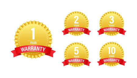 1, 2, 3, 5, 10 Year warranty. Support service icon. Vector stock illustration.