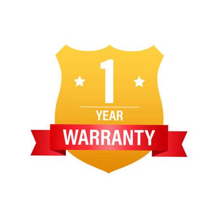 1 Year warranty. Support service icon. Vector stock illustration. Ilustración de vector