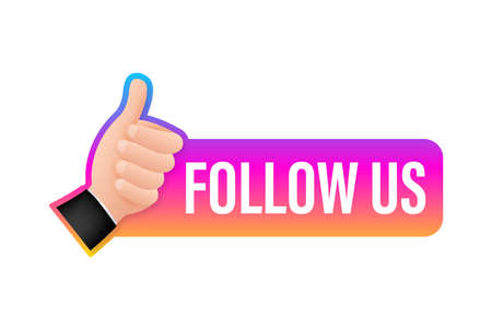 Button Follow us on white background. Vector illustration