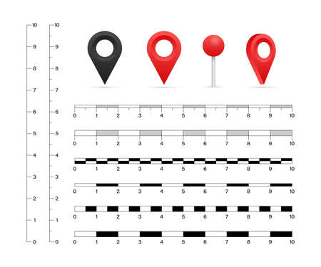 Map scales graphics for measuring distances. Vector stock illustration.