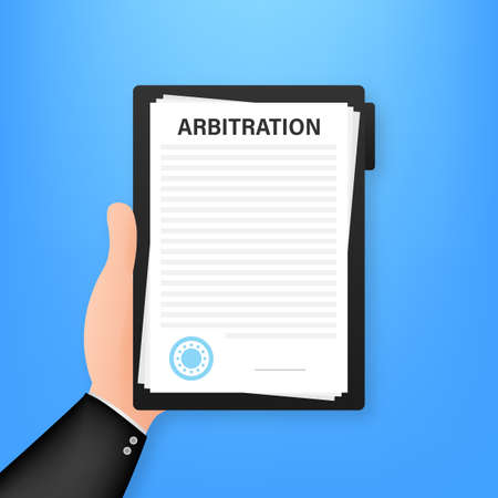 Arbitration agreement. Legal resolution conflict. Vector stock illustration. Ilustrace