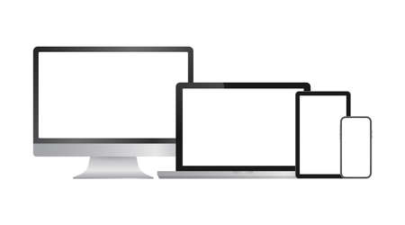Realistic computer laptop smartphone and tablet. Monitor screen display template. Vector stock illustration.