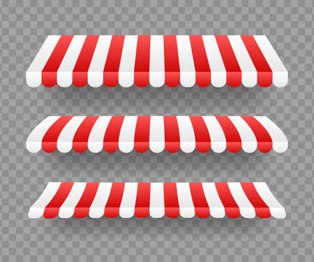 Colored striped awnings set for shop, restaurants and market store on transparent background. Vector stock illustration.
