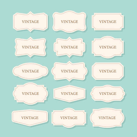 Vintage Frames Set, clipart bundle. Retro collection for decorative design. Frame Retro collection for decorative design. Vector stock illustration. Ilustrace