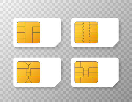 Mobile Cellular Phone Sim Card Chip Isolated on Background. Vector stock illustration.