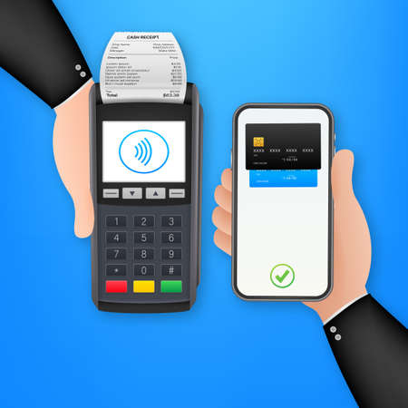 Contactless Payment Methods Mobile smart phone and wireless POS Terminal realistic style. Vector stock illustration
