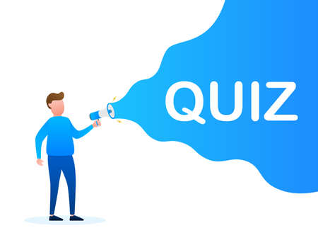 Hand holding megaphone - Quiz. Vector stock illustration.