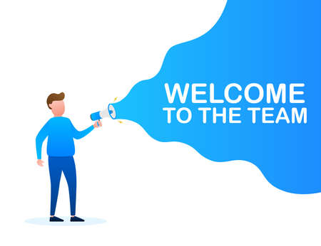 Hand Holding Megaphone with Welcome to the team. Megaphone banner. Web design. Vector stock illustration.