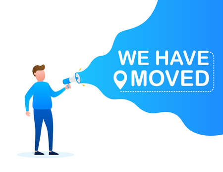 Hand holding megaphone - We have moved. Vector stock illustration. Illustration