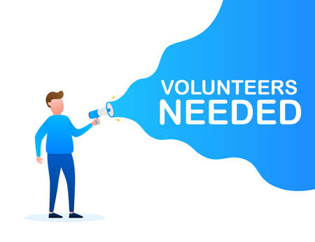 Megaphone Hand, business concept with text volunteers needed. Vector stock illustration Illustration