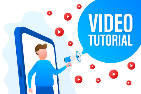 Video tutorials icon concept. Study and learning background, distance education and knowledge growth. Video conference and webinar.