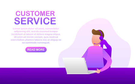 Customer service. Call center landing page. Online support center, assistance. Vector stock illustration.