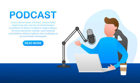 A man is doing live podcasts on his laptop. Live streaming, broadcast flat. Vector stock illustration.