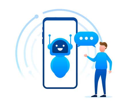 Robot icon. Bot sign design. Chatbot symbol concept. Voice support service bot. Online support bot. Vector illustration. Illustration