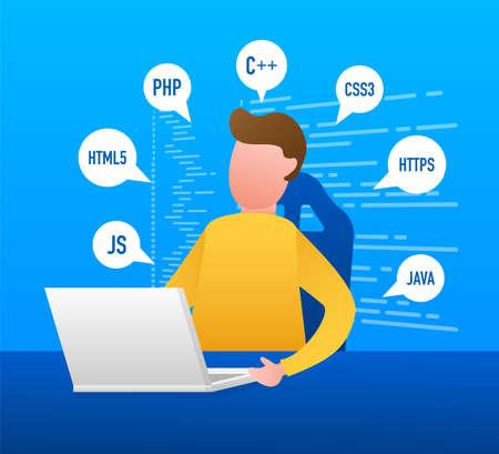Digital code text. Computer software coding vector concept. Programming coding script java, digital program code on screen illustration. Vector stock illustration.