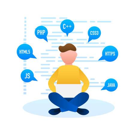 Digital code text. Computer software coding vector concept. Programming coding script , digital program code on screen illustration. Vector stock illustration.