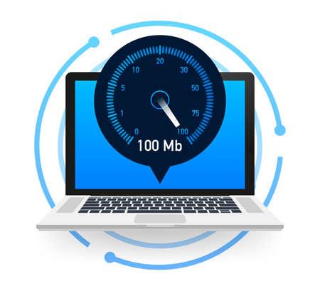 Speed test on laptop. Speedometer Internet Speed 100 mb. Website speed loading time. Vector illustration.