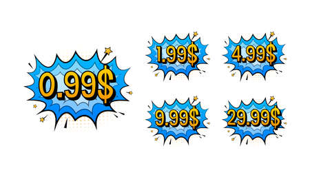 Discount sticker. Template with 99 only. Vector template design. Sale, price tag. Sale banner badge. Special offer price sign. Vector stock illustration.