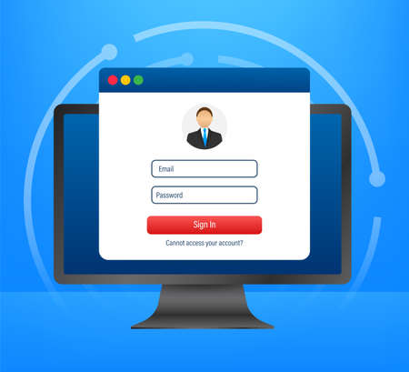 Login page on laptop screen. Notebook and online login form, sign in page. User profile, access to account concepts. Vector illustration. Illustration