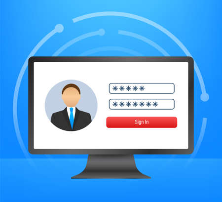 Login page on laptop screen. Notebook and online login form, sign in page. User profile, access to account concepts. Vector illustration. Ilustración de vector
