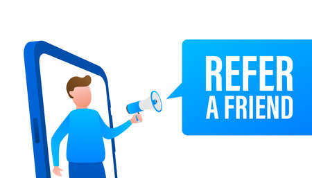 Refer a friend, megaphone no smartphone screen. Can be used for business concept. Vector stock illustration. Illustration