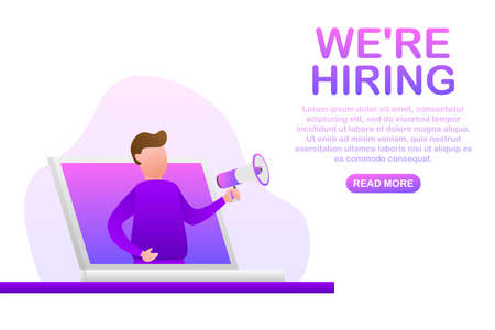 We re Hiring web banner. Megaphone With We are Hiring Speech on green background. Vector stock illustration.