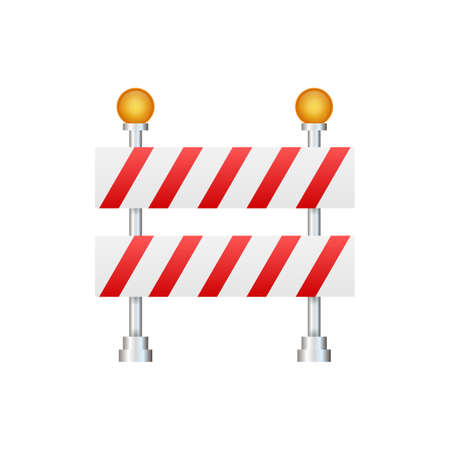 Under Construction Barrier. Road closed on white background. Fence of building or repair works sign. Vector stock illustration.