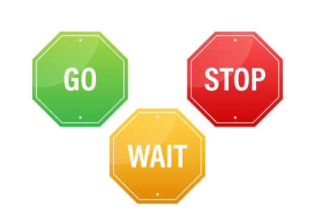 Go, wait, and stop traffic signs. Color set. Vector stock illustration.