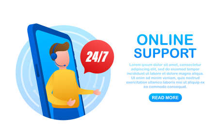 Customer service 24-7. Call center landing page. Online support center, assistance. Vector stock illustration.