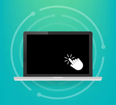 Laptop with cursor. Computer or search click arrow for website. Vector stock illustration.