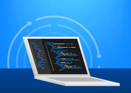 Digital code text. Computer software coding vector concept. Programming coding script, digital program code on screen illustration. Vector stock illustration.