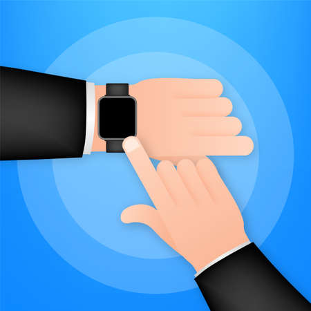 Smart watch on the hand. Concept wearable technology. Time management. Vector stock illustration.
