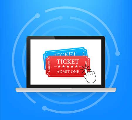 Get your ticket online. Cinema movie ticket online order concept. Vector illustration