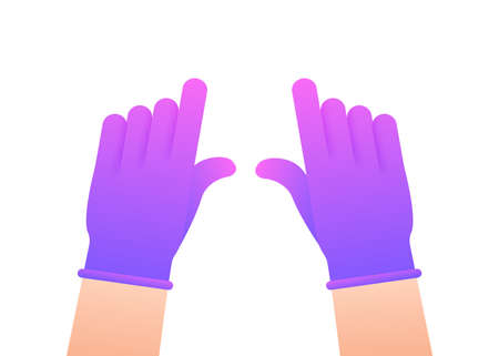 Hands putting on protective pinc gloves. Latex gloves. Vector stock illustration. Illustration