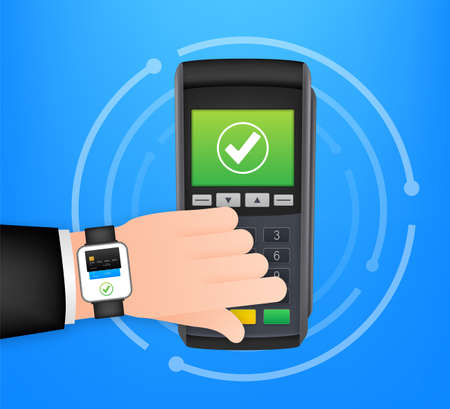 Contactless Payment Methods Mobile smart watch and wireless POS Terminal realistic style. Vector stock illustration
