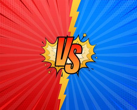 VS Versus Blue and red comic design. Battle banner match, vs letters competition confrontation. Vector illustration.