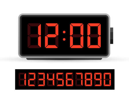 Digital clock number set. Time icon. Design element. Vector stock illustration. 矢量图像