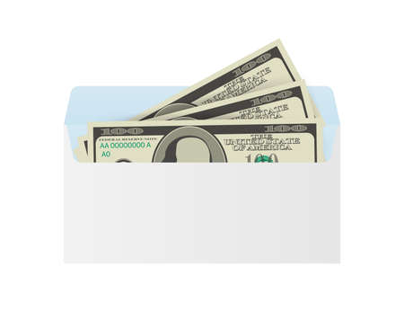 Some dollar bills in white envelope. Send money concept. Vector illustration. Illusztráció