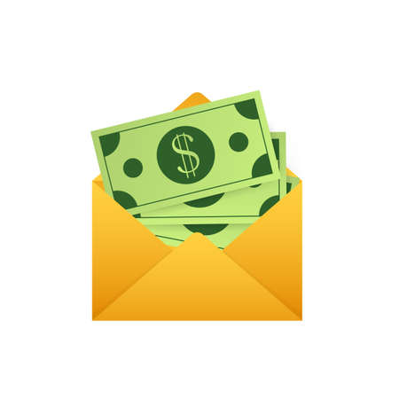 Some dollar bills in white envelope. Send money concept. Vector illustration. 矢量图像