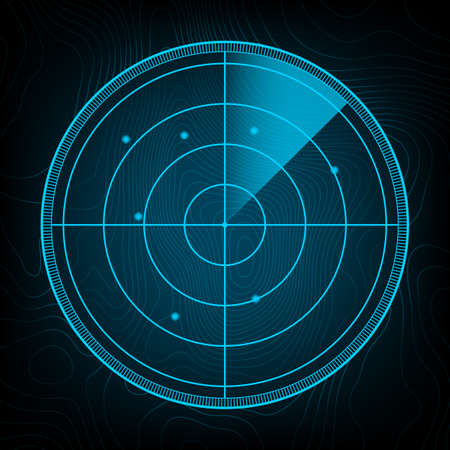Realistic radar in searching. Radar screen with the aims. Vector stock illustration. Banque d'images - 161674728