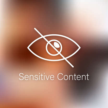 Sensitive photo content. Inappropriate content. Internet safety concept. Attention Sign. Vector stock illustration. Illusztráció