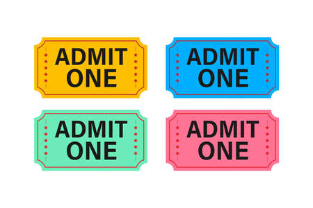 Realistic red and blue show ticket. Old premium cinema entrance tickets Banque d'images - 161674759