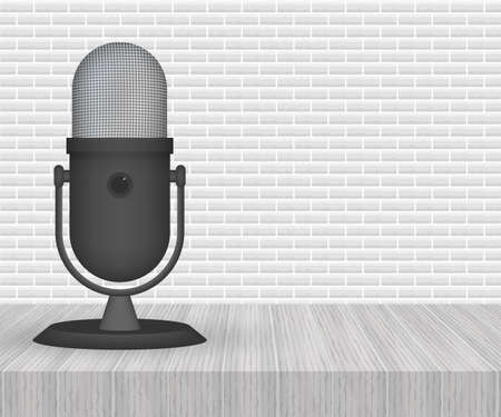 Podcast. Microphone with speech bubble icons. Vector illustration. Illusztráció