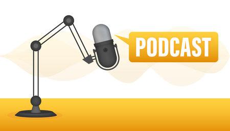 Podcast Badge, icon, stamp, logo. Vector illustration.