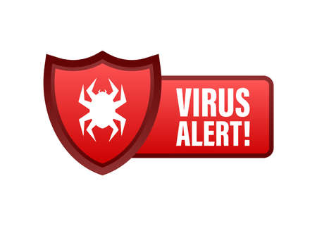 Danger symbol vector illustration. Virus protection. Computer virus alert. Safety internet technology, data secure.