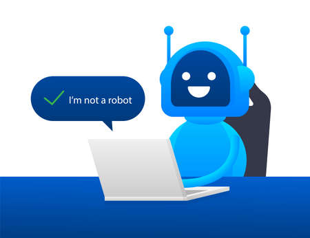 Captcha, I am not a robot on laptop screen. Vector stock Illustration Illusztráció