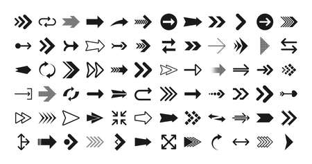 Arrows big black set icons. Arrow icon. Arrows for web design, mobile apps, interface and more. Vector illustration.